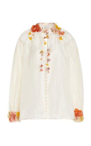 Postcard Floral-Appliqued Linen-Silk Top