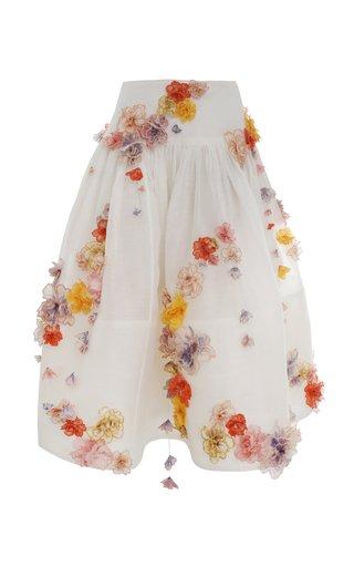 Postcard Floral-Appliqued Linen-Silk Midi Skirt