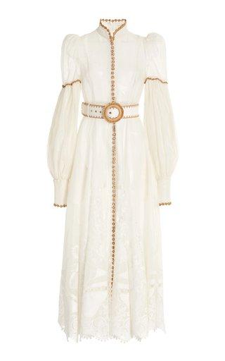 Postcard Crochet-Trimmed Broderie Anglaise Linen-Silk Midi Dress