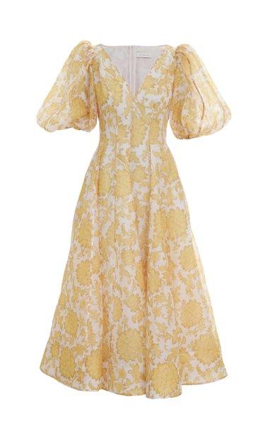 Postcard Puff-Sleeve Floral Linen-Silk Midi Dress