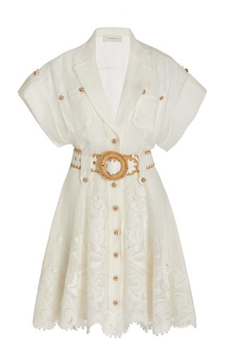 Postcard Belted Broderie Anglaise Cotton Mini Shirt Dress