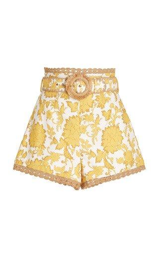 Postcard Crochet-Trimmed Floral Cotton Shorts