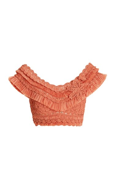 Postcard Fringed Crocheted Crop Top