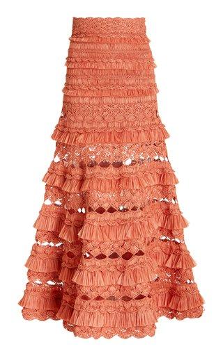 Postcard Fringed Crocheted Midi Skirt