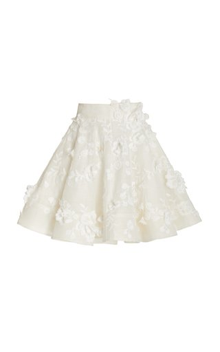 Postcard Floral-Appliqued Linen-Silk Full Mini Skirt