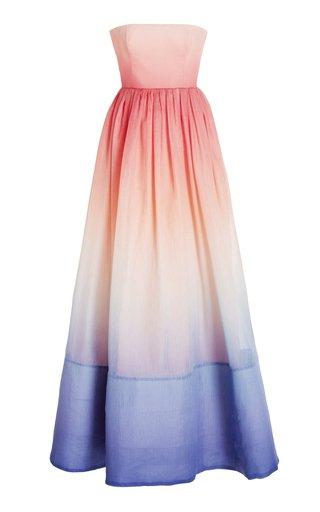 Postcard Ombre Linen-Silk Strapless Maxi Dress