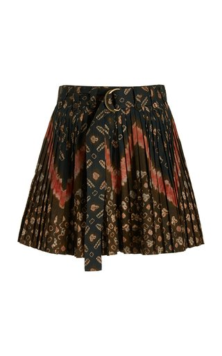Marianna Pleated Printed Cotton Shorts