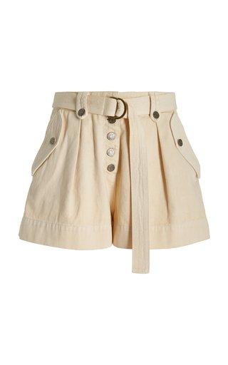 Theta Pleated Washed Denim Shorts