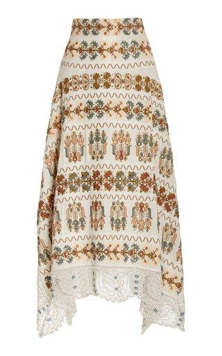 Calliope Embroidered Silk Skirt