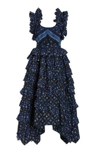 Nia Ruffled Printed Cotton Midi Dress