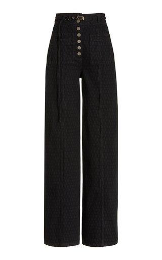Abrams Checkered Rigid High-Rise Straight-Leg Jeans