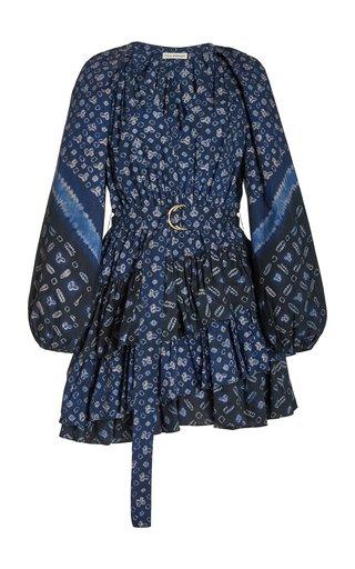 Miranda Belted Cotton-Blend Mini Dress