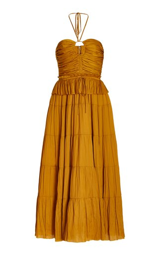 Evanthe Ruched Satin Midi Halter Dress