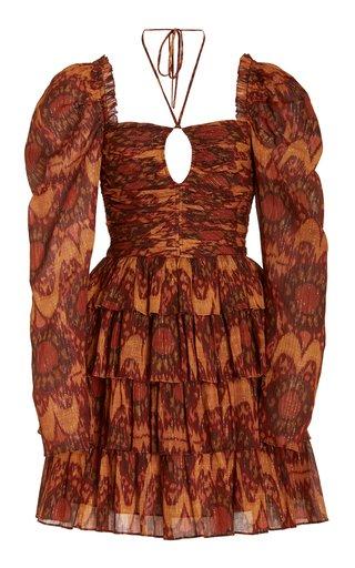 Naiya Gathered Cotton-Blend Mini Dress