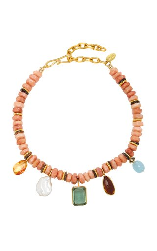 Balsa Beaded Multi-Stone Gold-Plated Necklace