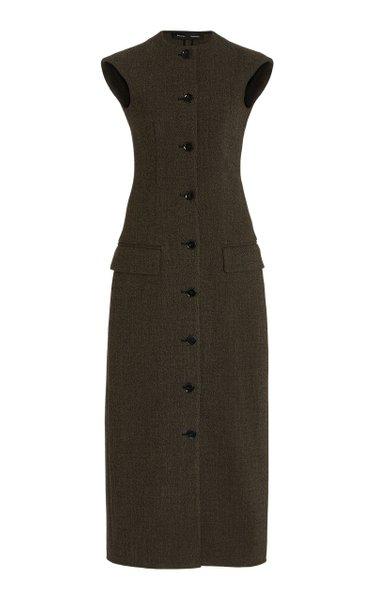 Button-Detailed Mélange Dress