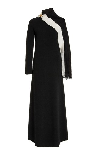 Scarf-Accented Knit Maxi Dress