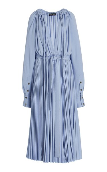 Lightweight Pleated Jersey Midi Dress