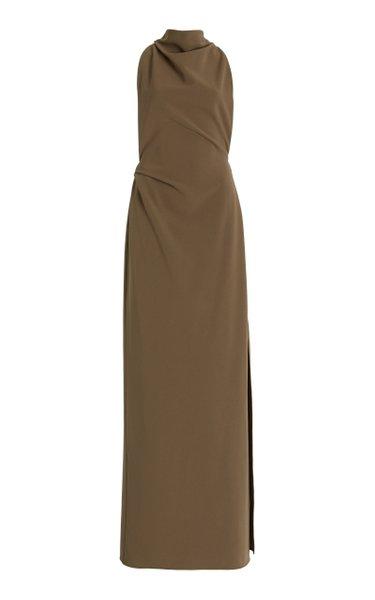 Sleeveless Matte Crepe Maxi Dress