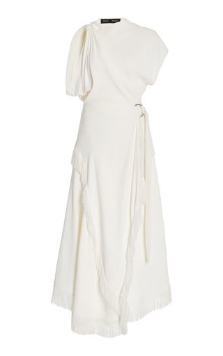 Asymmetric Textured Crepe Midi Dress