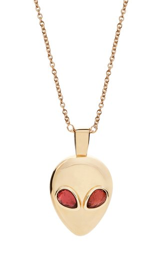 14K Yellow Gold Alien Necklace