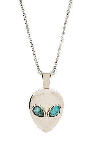 14K White Gold Alien Necklace