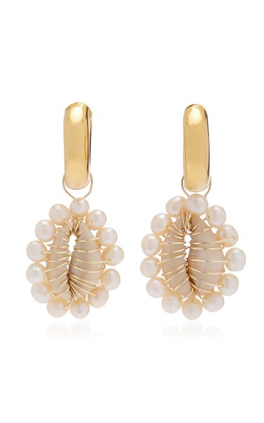 Tazia Shell, Pearl Gold-Plated Earrings