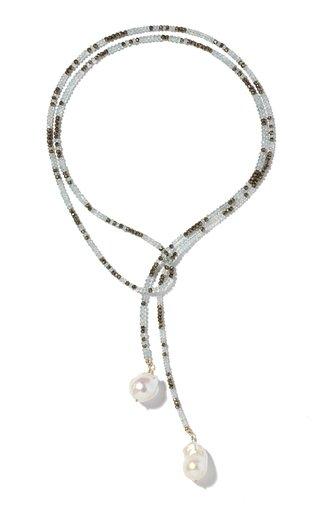 Pearl, Aquamarine, Pyrite Gold-Filled Lariat Necklace