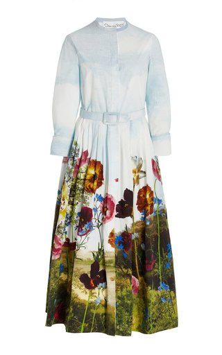 Belted Floral Cotton Midi Shirt Dress