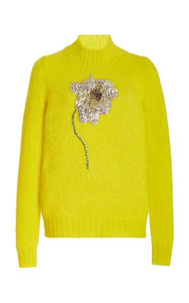 Crystal-Flower Accented Mohair Wool Knit Top