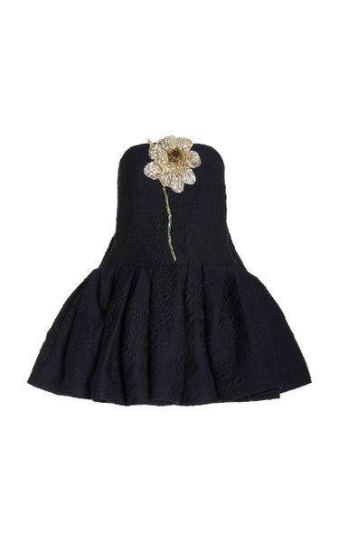 Crystal Flower-Embroidered Wool-Silk Blend Watteau Mini Dress