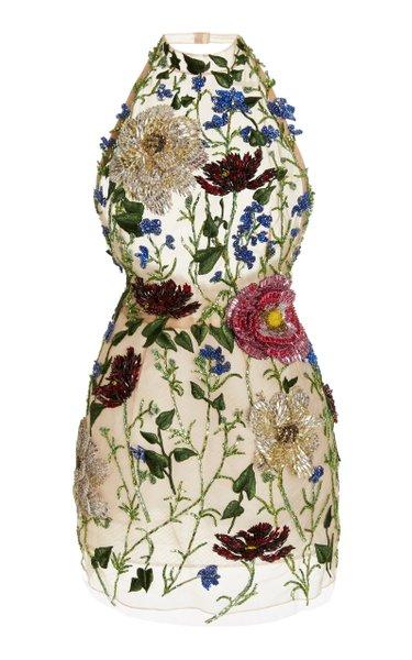 Crystal Flower-Embroidered Halterneck Cocktail Dress