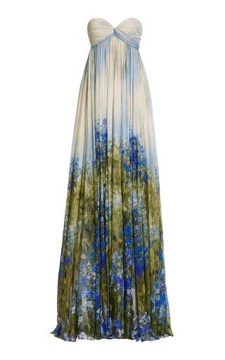 Floral Silk-Chiffon Strapless Gown