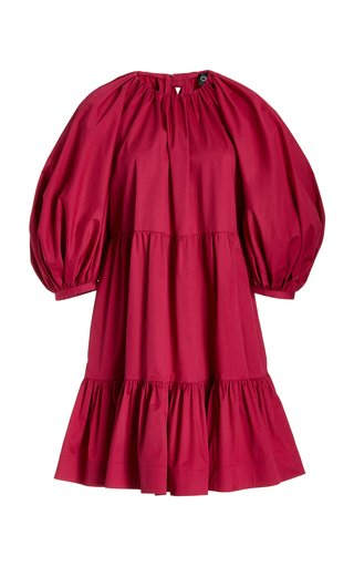 Bow-Embellished Stretch-Cotton Mini Dress