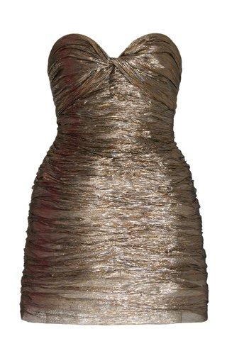 Ruched Silk-Blend Lamé Strapless Mini Cocktail Dress