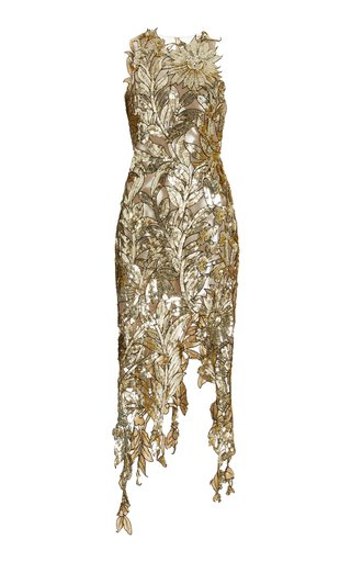 Floral-Sequined Tulle Midi Dress