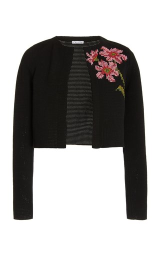 Embroidered Pointelle-Knit Cardigan
