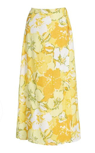 Elodia Floral Linen Midi Wrap Skirt