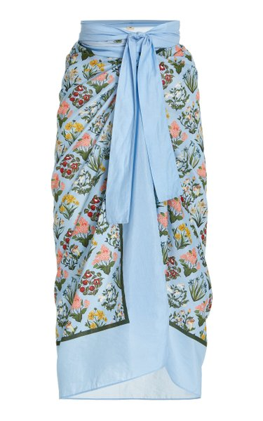 Lavanda Printed Cotton-Silk Pareo