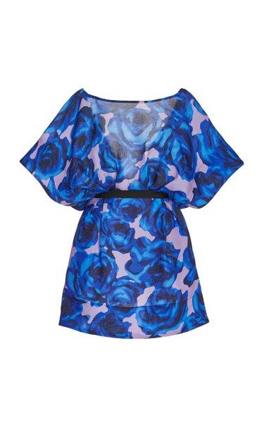 Floral-Printed Silk Gathered Waist Mini Dress