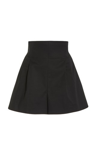 Pleated Stretch-Cotton High-Rise Shorts
