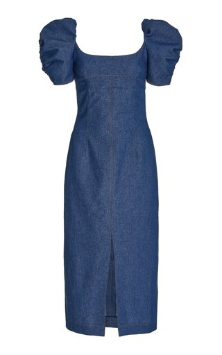 Puff Sleeved Stretch-Cotton Midi Dress