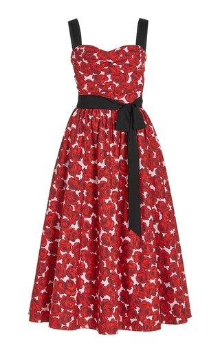 Floral Printed Stretch-Cotton Midi Dress