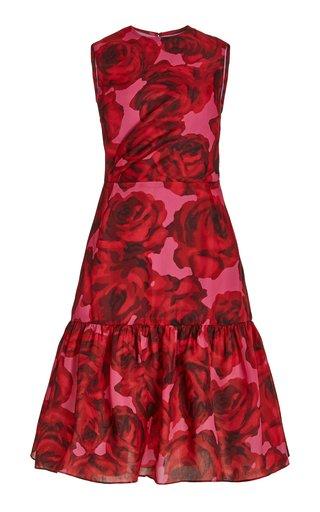 Floral-Printed Silk A-Line Dress