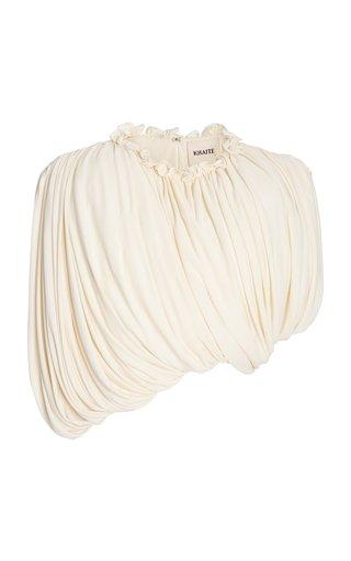 Lowry Asymmetric Draped Jersey Cropped Top