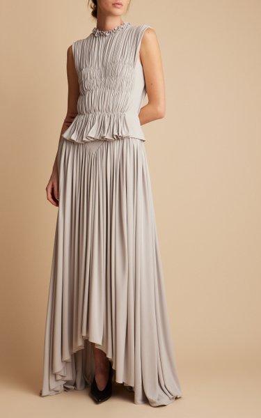 Genevie Gathered Jersey Maxi Dress