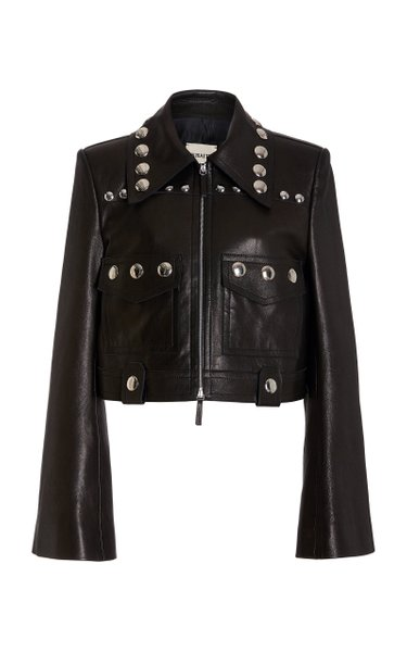 Lyle Studded Leather Cropped Biker Jacket