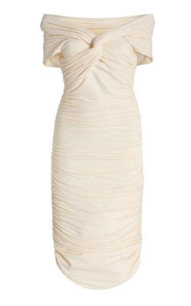 Spence Ruched Stretch-Cotton Off-The-Shoulder Midi Dress