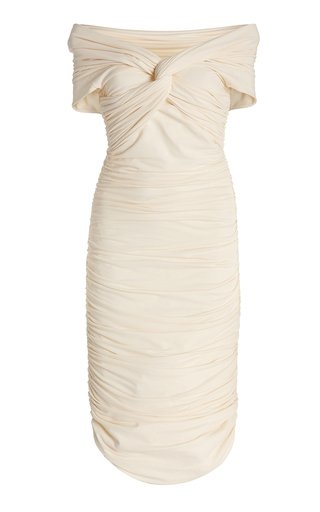 Spence Ruched Stretch-Cotton Midi Dress