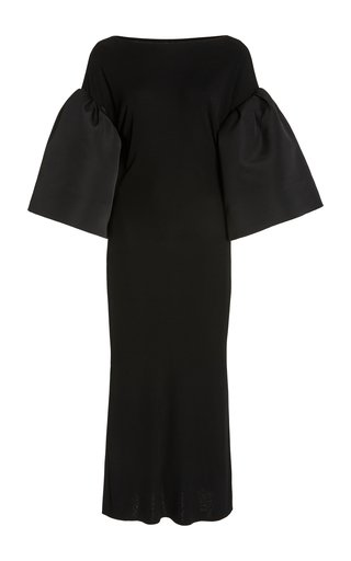 Kali Satin-Detailed Jersey Midi Dress